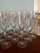 Lovely champagne flutes, all ready for mimosas.